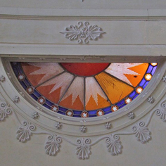 Details of engraved amber glass in the boudoir
